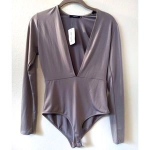 Forever 21 Bodysuit Low Cut Taupe Long Sleeve